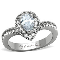 An Antique Perfect 1.2CT Pear Cut Halo Russian Lab Diamond Engagement Ring
