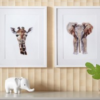 Giraffe & Elephant Framed Art