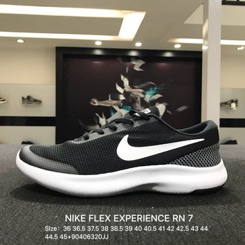 Nike Flex Experience RN 7 Women Men Black White Sports Running Shoes - 908985-001