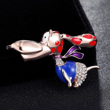 Donia jewelry Kawaii dog Brooch Bright Enamel cartoon Animal Costume Accessories girl gift birthday Gift