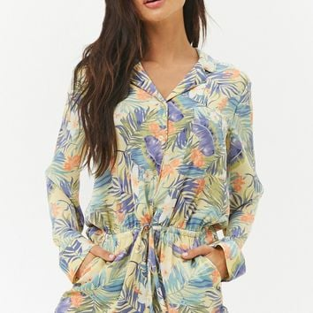 Satin Tropical Pajama Romper