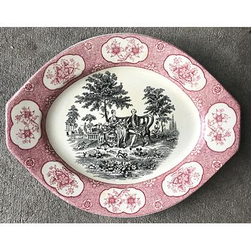 Two Color English Transferware Platter Red Black Romantic Staffordshire Victorian Scene of Mother, Son and Dog