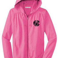 Pink Lightweight Wind Breaker Monogrammed Jacket - Sorority, Cheer Teams, Christmas Gifts