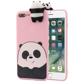Voberry 3D Cartoon Animals Cute Bare Bears Soft Silicone Case For IPhone 7 Plus 5.5 Inch / IPhone 6\6s 4.7 / IPhone 6\6s Plus 5.5