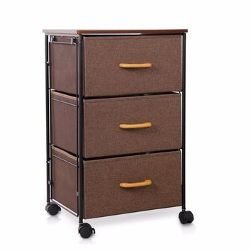 Lifewit 3-Tier Drawer Storage Bin Cabinet Home Office Storage Rolling Cart Clothes Knitting Basket for Clothes Toys Storage Box