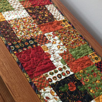 Fall Autumn Thanksgiving Quilted Patchwork Table Runner Quiltsy Handmade