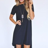 Solid Black High Low Dress