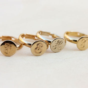 Initial Gold Ring - E,F,G,H,T