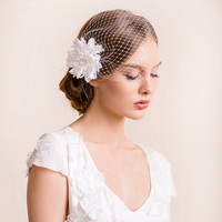 Birdcage Veil with Flower Dahlia Hair Clip - Bridal Birdcage Veil with Flower - Bridal Hair Accessories - Wedding Hair Accessories