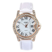 Women Lady PU Leather Band Round Dial Quartz Analog Wrist Watch