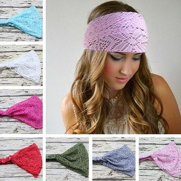 Girl's Fashion Stretchy Wide Lace Headband Turban Head Bandanas HairbandStore11