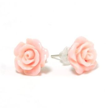 The Olivia Collection Smell The Roses Pink Rose Stud Earrings