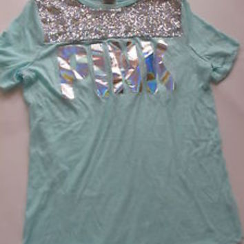 NWT VICTORIA'S SECRET PINK BLING SEQUIN GRAPHIC TEE T SHIRT MINT GREEN XS