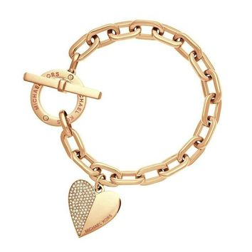 Exquisite Link Chain and Heart Polishing Bracelet