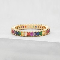Vertical Baguette Eternity Band - Gold + Rainbow