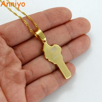 Anniyo Benin Map Necklace Gold Color Africa Pendant Thin Chain Jewelry Africa Country Maps #011521