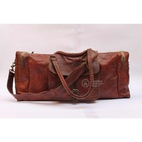 Leather duffle weekender bag
