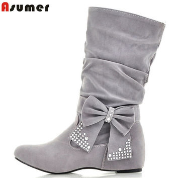 Ankle High Round Toe Bow Tie Ankle Rhinestones Flat Heels Women's Winter Boots