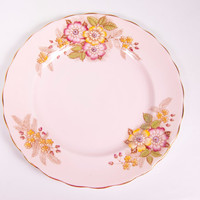 Vintage Rosina Pink Plate Flowered Bone China Made in England Dessert Plate Gold Trim