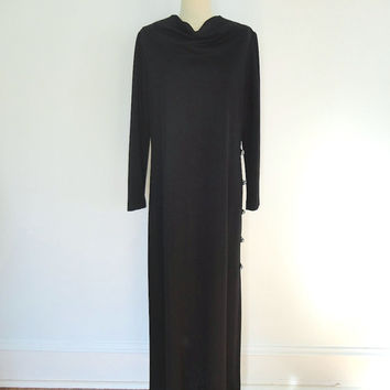 Vintage Dress / 1970s Formal Maxi Cocktail / Rhinestone Buttons / Caftan Kaftan /Size Large L