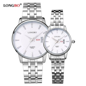 Lovers Couple Watches Men Date Day Waterproof Women Gold Stainless Steel Quartz Wristwatch