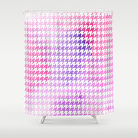 Houndstooth pink watercolor Shower Curtain by CAPow!