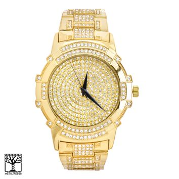 Jewelry Kay style Men's Fashion CZ Iced Out Hip Hop 14k Gold Plated Metal Band Watch WM 8234 G