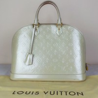 100 % Authentic LOUIS VUITTON ALMA Monogram Vernis GM blanc corail