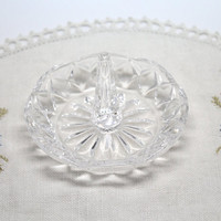 Clear Glass Ring Dish Crystal Diamond Pattern Holder with Logo