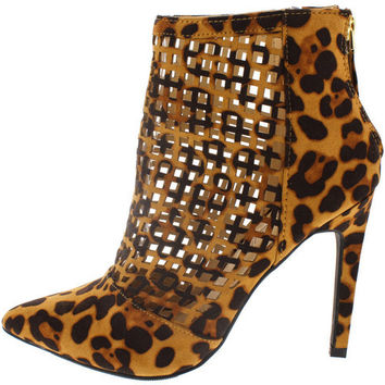STEPPUP16 LEOPARD LASER CUT OUT POINTED ANKLE BOOT