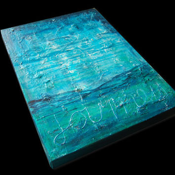 Journey fine art painting Original on canvas - wall art - teal
