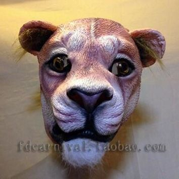 Halloween Props Adult Angry Lion Head Masks Animal Cosplay Costume
