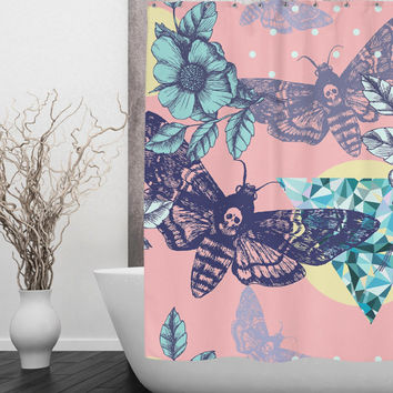 Pink Death Moth & Skull Shower Curtain -Beautiful flower and gem Print with tiny Skulls Shower Curtain - Sugar Skull Shower Curtain