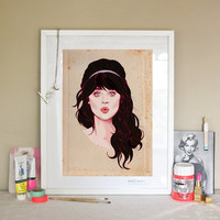 ZOOEY DESCHANEL Portrait Poster - New Girl - Fashion Illustration - Kiss -  Retro Pencil Drawing - Blue Headband