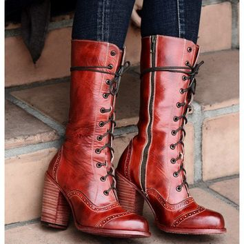 Ariana Victorian Inspired Mid-Calf Leather Boots in Red Rustic by Oak Tree Farms