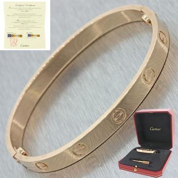 NEW 2017 Cartier 18K Rose Gold New Style Screw Love Bangle Bracelet Size 17 BP