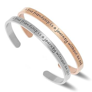 "AUGUAU NewChiChi Cuff Bracelet Engraved""A True Friendship is a Journey Without an End""Inspirational Jewelry"
