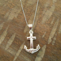 Sterling Silver Anchor Necklace - Necklace - Anchor