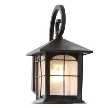Home Decorators Collection Brimfield 1-Light Aged Iron Outdoor Wall Lantern-Y37029A-151 - The Home Depot