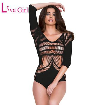 Liva Girl 2017 New Half Sleeve Hollow Out Bodysuit Femme Black Red Open Back Overall Lady Sheer Transparent Autumn Bodysuits