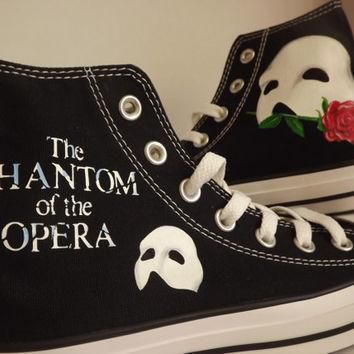 Hand Painted Phantom of the Opera Converse Hi Black Cool Personalised Birthday