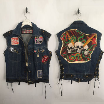 Customized Vintage Denim Biker Vest motorcycle vest rock n roll clothing rocker skull vest back patch lace up vest large