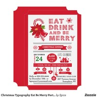 Christmas Typography Eat Be Merry Party Invitation