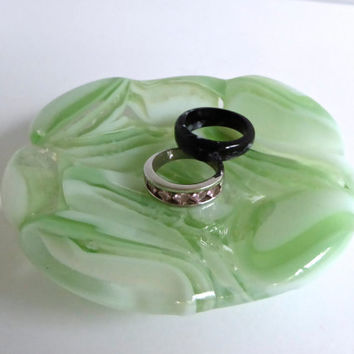 Fused Glass Ring Dish in Pale Green