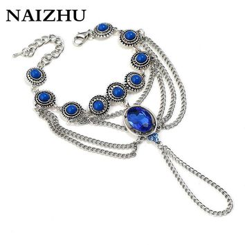 Fashion Vintage Chain Bracelet Drop Punk Silver Color Women Blue crystal Slave Finger Ring Boho Jewelry 2018
