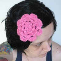 Floral Fascinator Hair Clip Barrette in Pink Crochet Irish Rose, ready to ship.