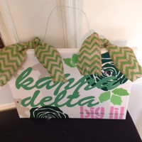 Kappa Delta Greek Sorority Big Lil Sis Canvas Sign Wall Hanging Letters