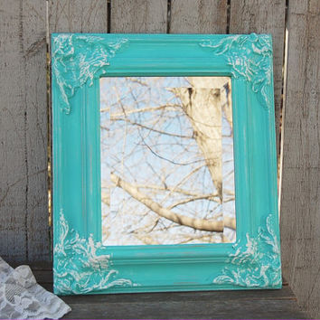 Mirror, Shabby Chic, Aqua, Turquoise, Blue, White, Rectangle, Upcycled, Ornate, Wedding Decor, Painted Mirror, Beveled