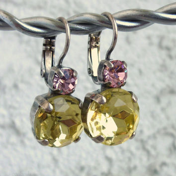 swarovski crystal earrings 11mm- drops -golf size- yellow and pink-not sabika