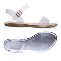 Stardust72M By Bamboo Transparent See Through Strap Flat Metallic Sandal. Clear Lucite